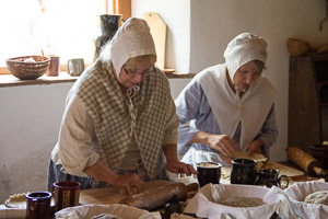 Preparing food in the 1726 Henry Antes House, Goschenhoppen Folk Festival, Pennsylvania German,
